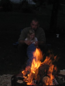 Jaiden loves Andy, it amazes me how good he is with her!  But who wouldn't love a 6 year old sopping wet with no pants who wants to whittle by a fire.