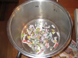 Shredded paper in a stock pot